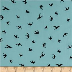 Chiffon Birds Baby Blue/Black