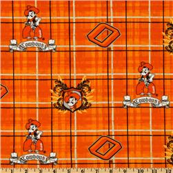 Collegiate Cotton Broadcloth Oklahoma State University Plaid