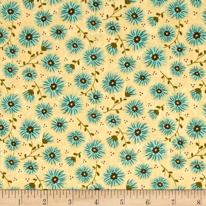 Moda Print Charming Mums Cream/Teal