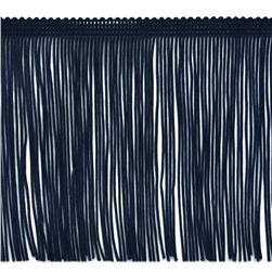 6'' Chainette Fringe Trim Navy Blue Fabric