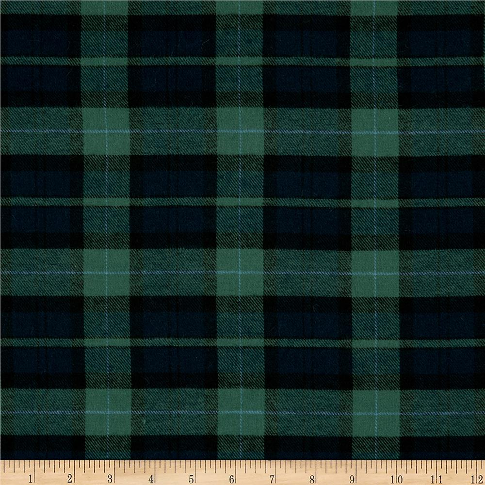 Yarn Dyed Flannel Plaid Hunter/Navy Fabric