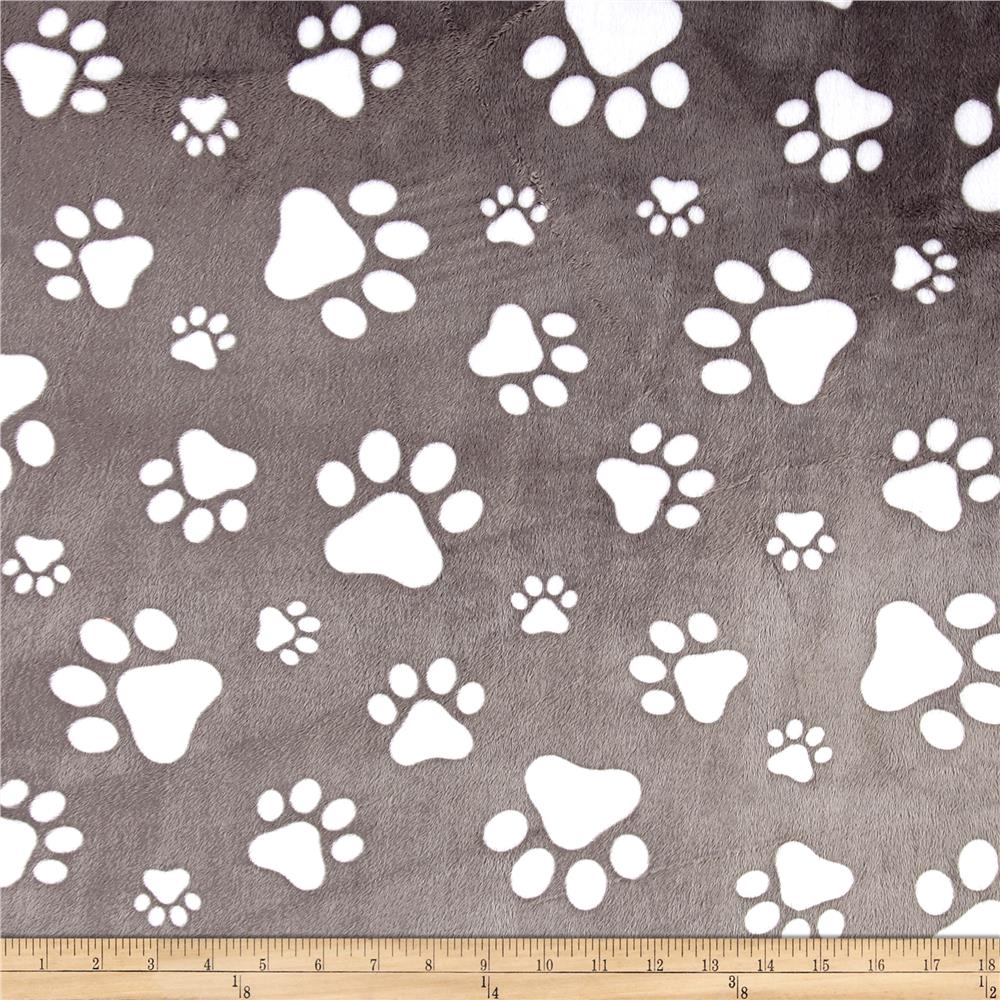 Minky Cuddle Prints/Snow Paws Graphite