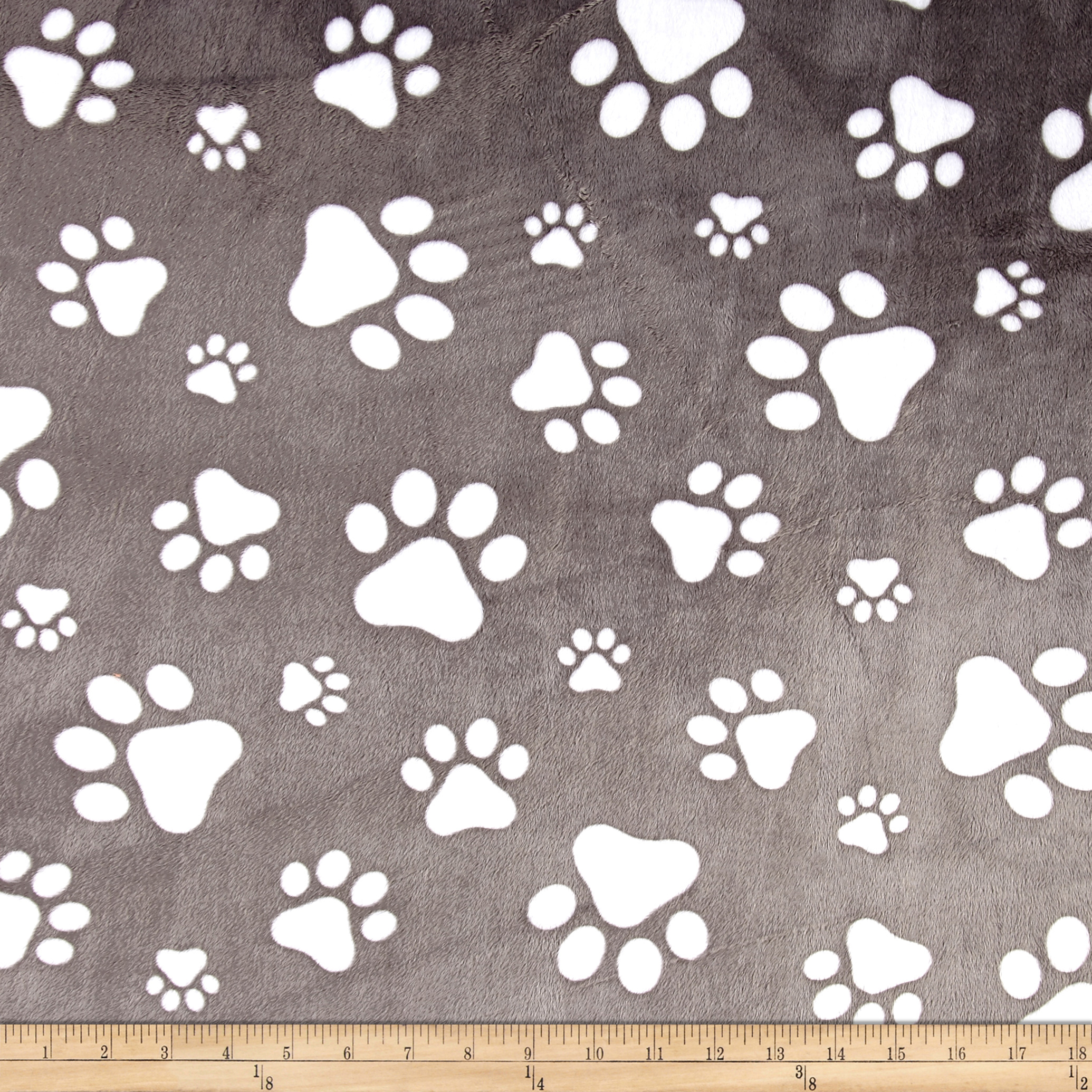 Shannon Minky Cuddle Prints/Snow Paws Graphite Fabric