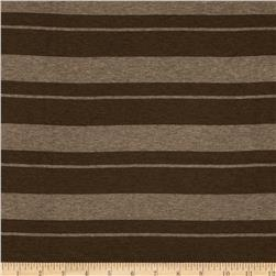 Stretch Rayon Jersey Knit Stripes Brown