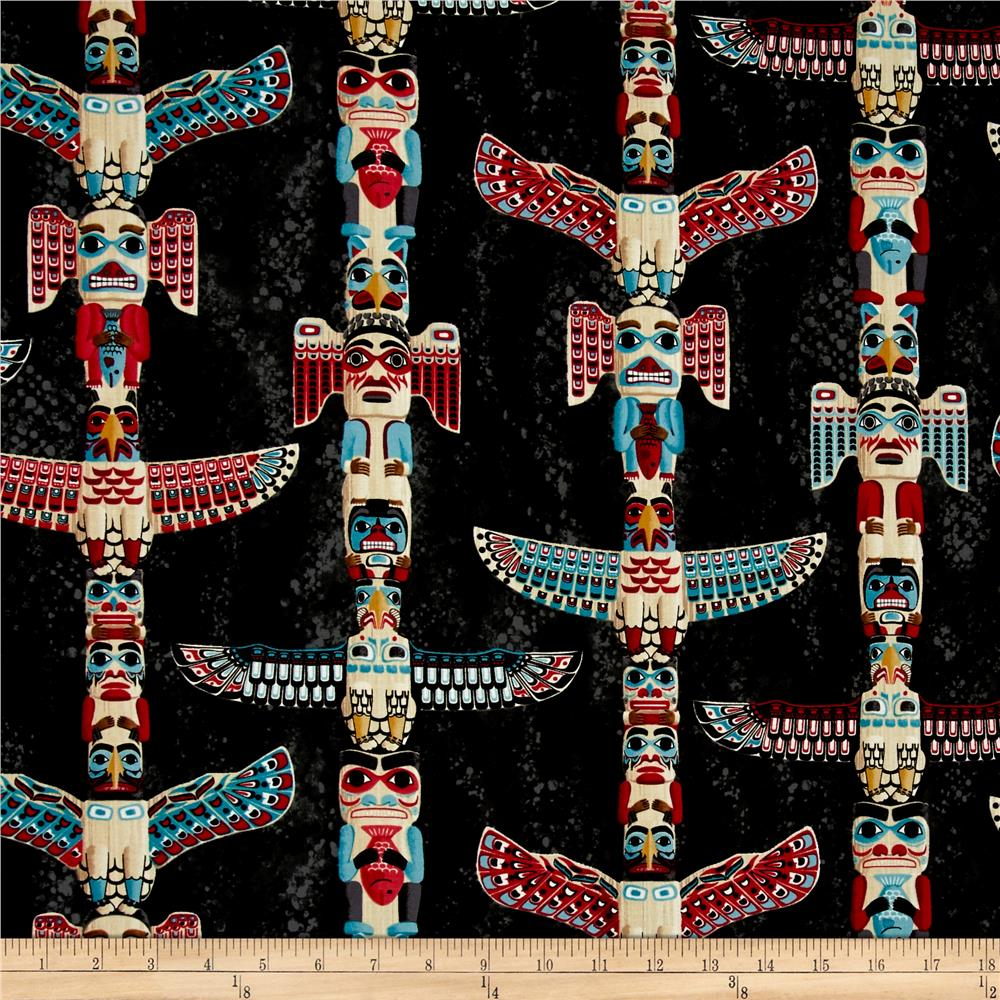 Timeless Treasures Totem Poles Charcoal