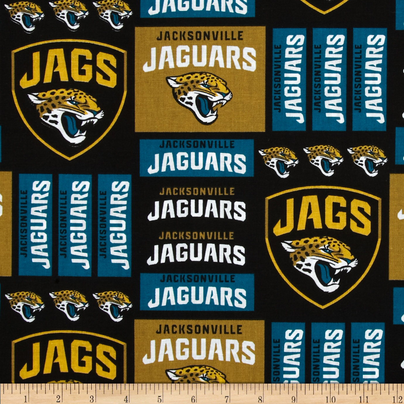 NFL Broadcloth Jacksonville Jaguars Black/Gold/Green Fabric by Fabric Traditions in USA