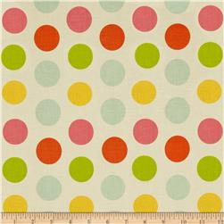 Riley Blake Large Dot Cream/Multi Fabric