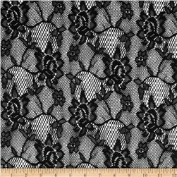 Doily Lace Flowers Black Fabric