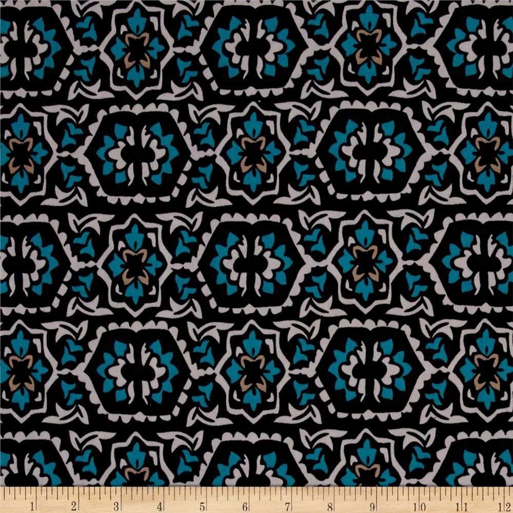 Stretch ITY Knit Mosaic Tile Turquoise Black White