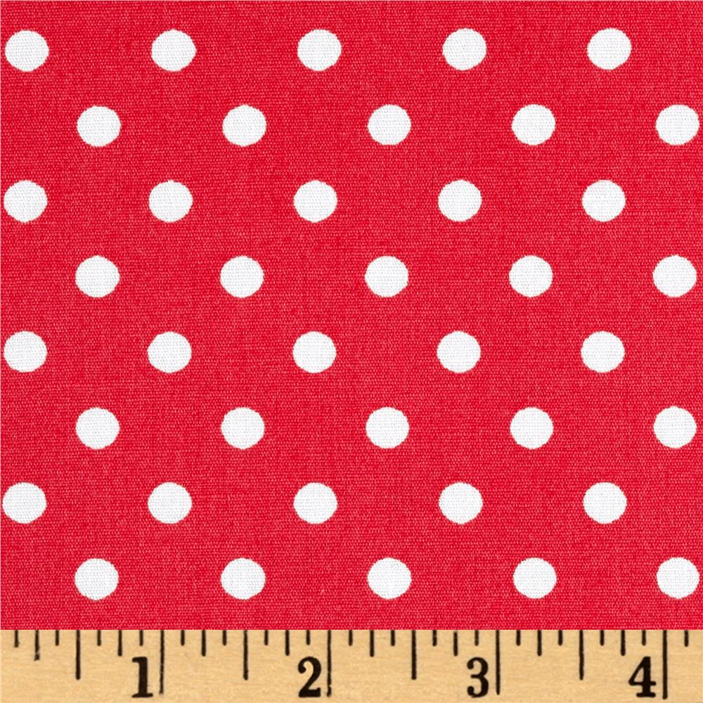 Cotton Stretch Poplin Polka Dots Papaya/Ivory