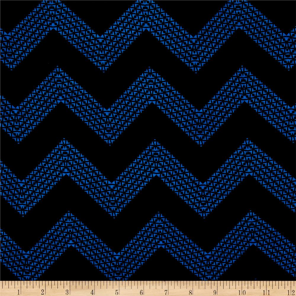 Triangle Chevron Jersey Knit Royal/Black