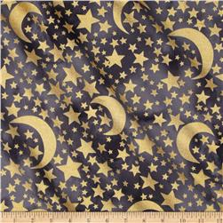 Michael Miller Moon & Stars Metallic Moon & Stars Graphite