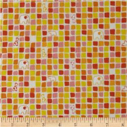 Savanna Bop Flannel Tiny Squares Orange