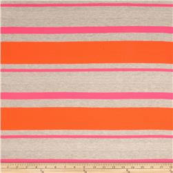 Designer Stretch Tissue Hatchi Knit Stripes Neon Pink/Orange