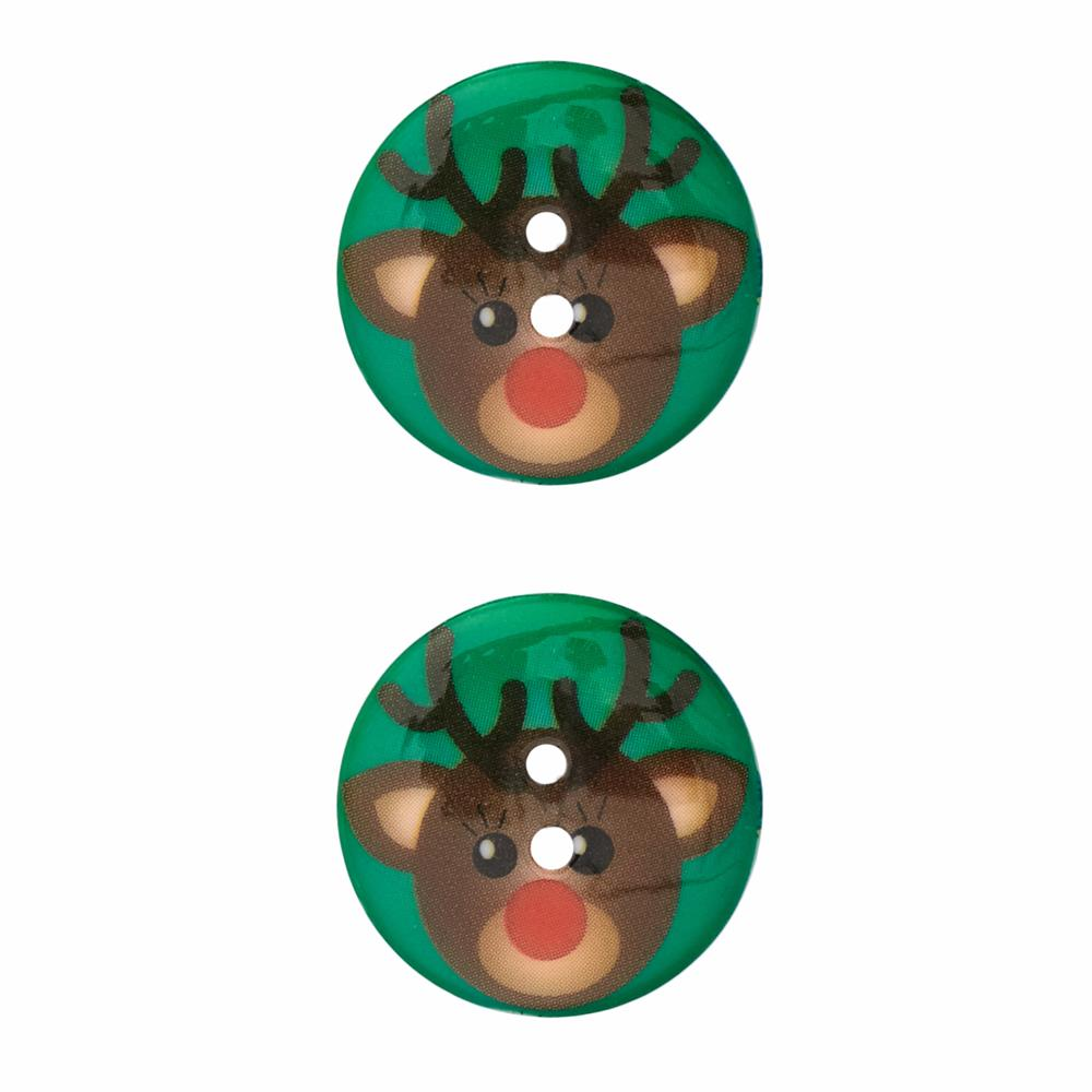 Novelty Winter Wonder Button Reindeer 1 1/8""