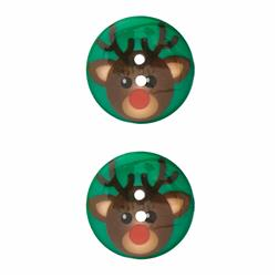 Novelty Winter Wonder Button Reindeer 1 1/8