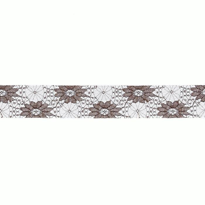 1 1/2'' Floral Lace Ribbon Brown
