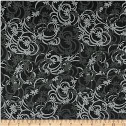 Chiffon Yoryu Swirly Blooms Black