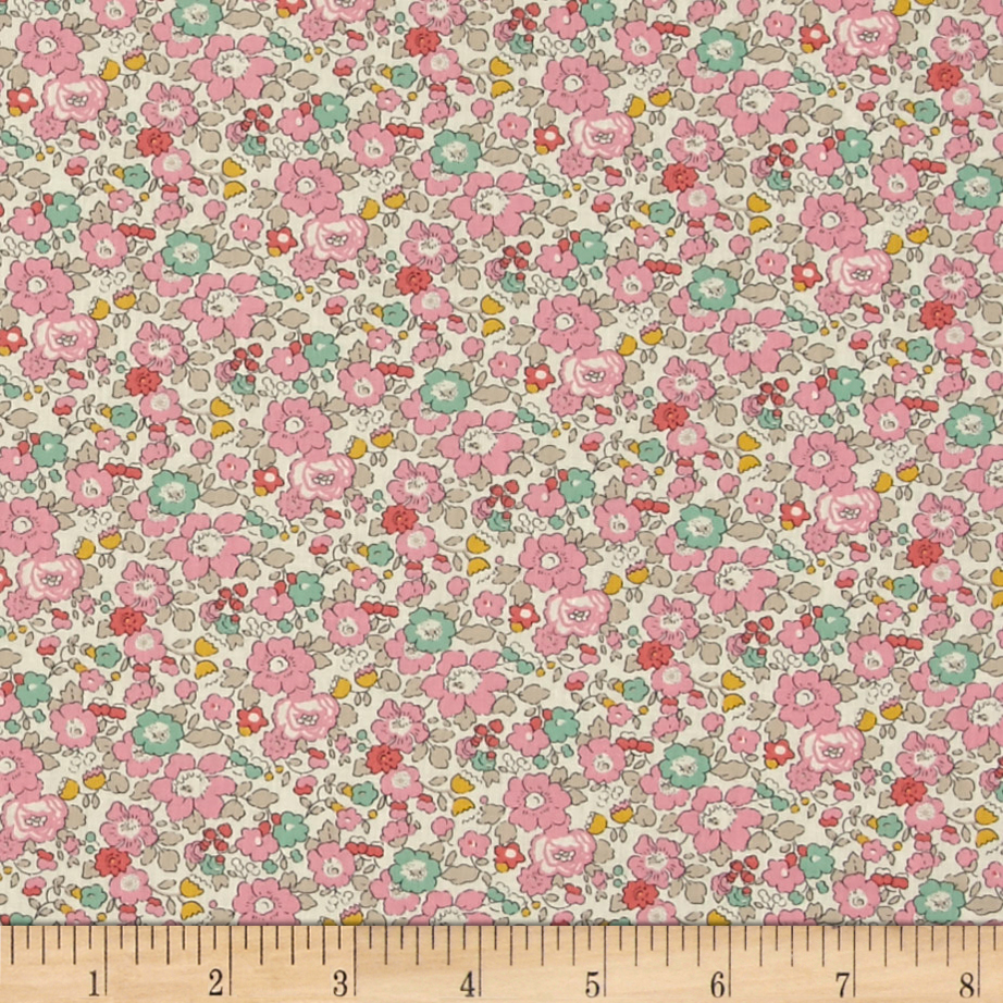 Liberty of London Classic Tana Lawn Betsy Ann White/Light/Pink Fabric by Liberty Of London in USA