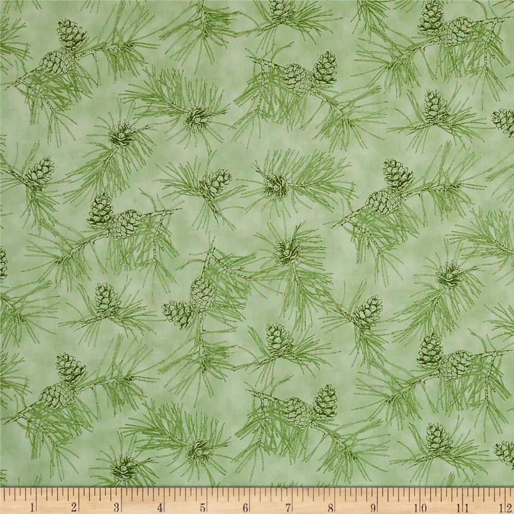 By Water's Edge Pinecone Toile Light Green