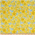 Walking on Sunshine Daffodils Allover Light Blue
