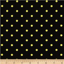 Stretch Poplin Dots Black/Yellow