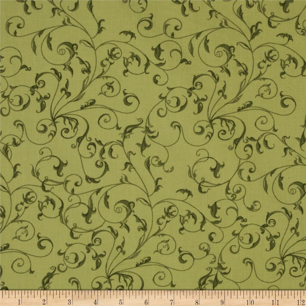 110'' Wide Quilt Backing Filigree Sage Fabric By The Yard