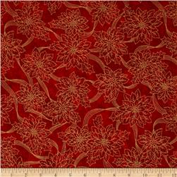 Sounds of the Season Metallic Poinsettia Outline Red