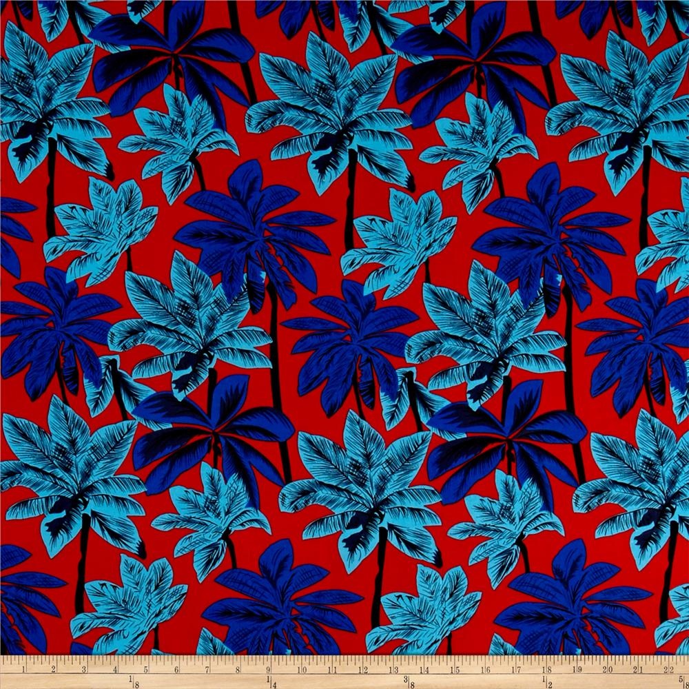 Rayon Challis Tropical Prints Red/Teal/Royal
