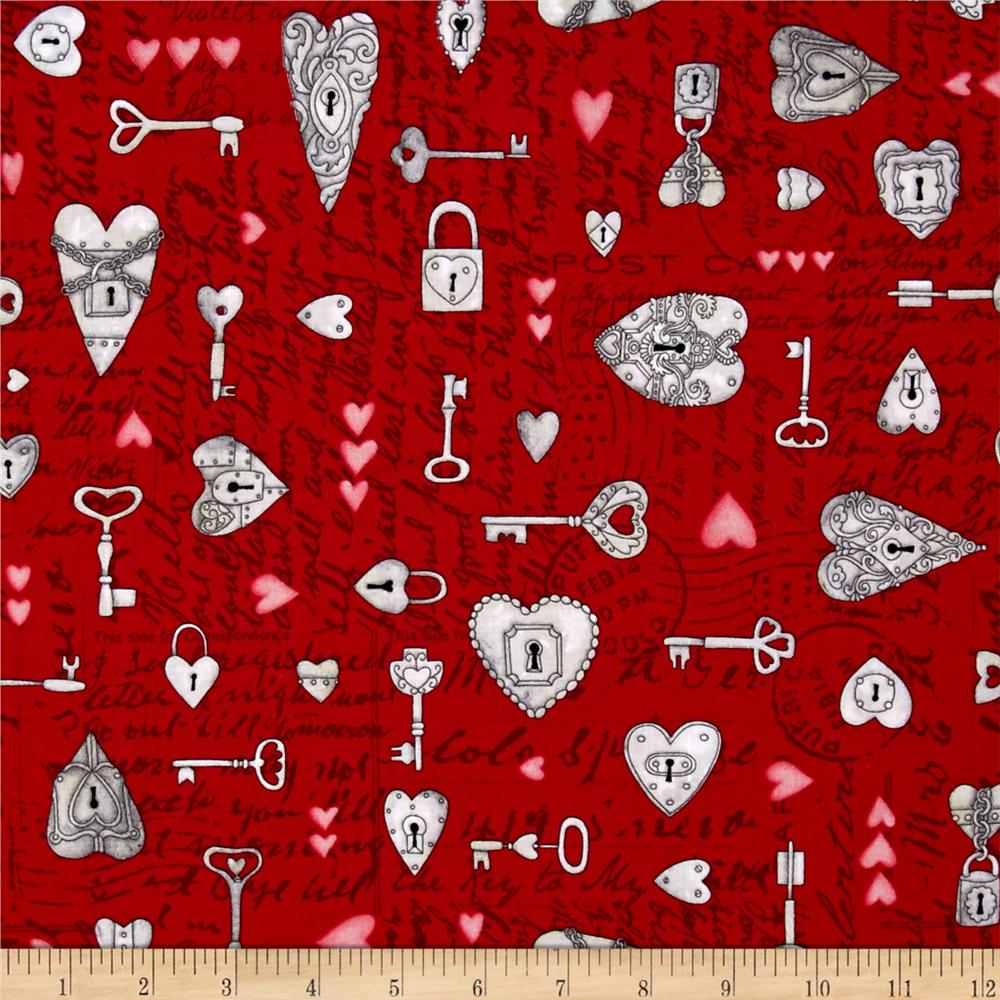 Key to My Heart Spaced Keys & Hearts W/ Writing Red
