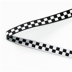 "3/8"" Luella Doss Black & White Checkerboard Ribbon"