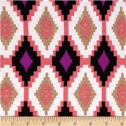Stretch Jersey Knit Southwest Medallion Pink/Black