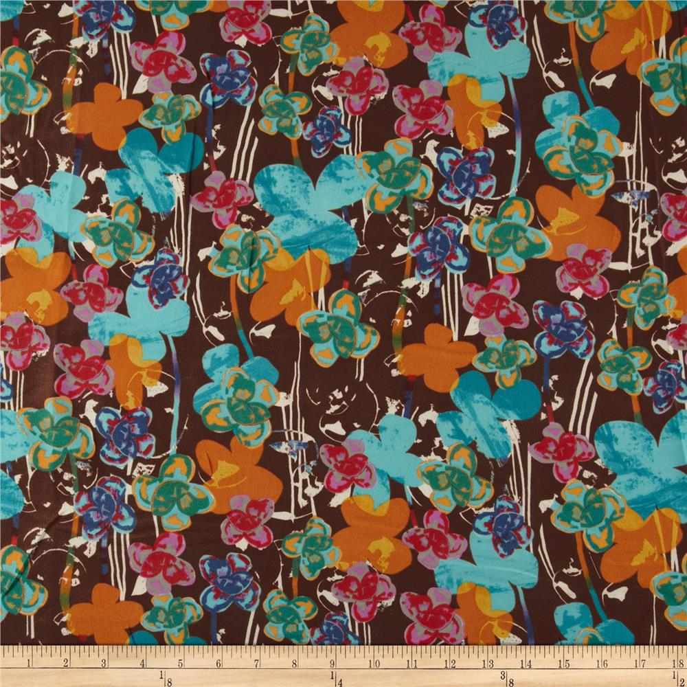 Designer Crepe Shirting Flowers Aqua/Brown