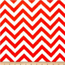 Plush Coral Fleece Chevron Ruby/White