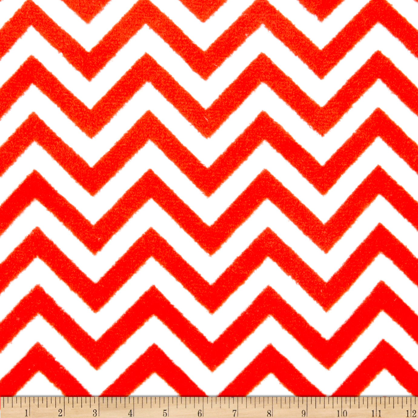 Plush Coral Fleece Chevron Ruby/White Fabric