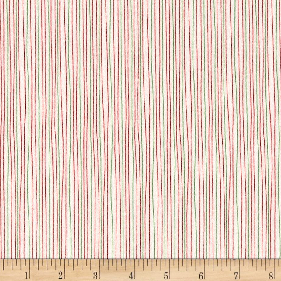 Moda Red Dot Green Dash Brushed Cottons Holiday Stripe Multi Fabric
