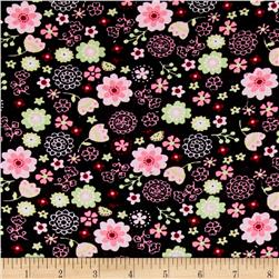 Corduroy Flowers Pink/Black/Green