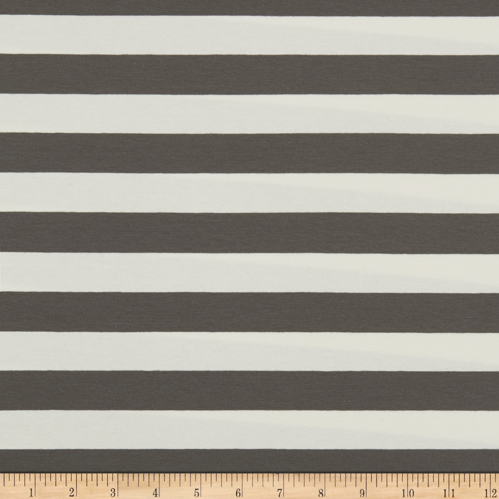 Art Gallery Striped Bold Graphite Jersey Knit Grey & White Fabric