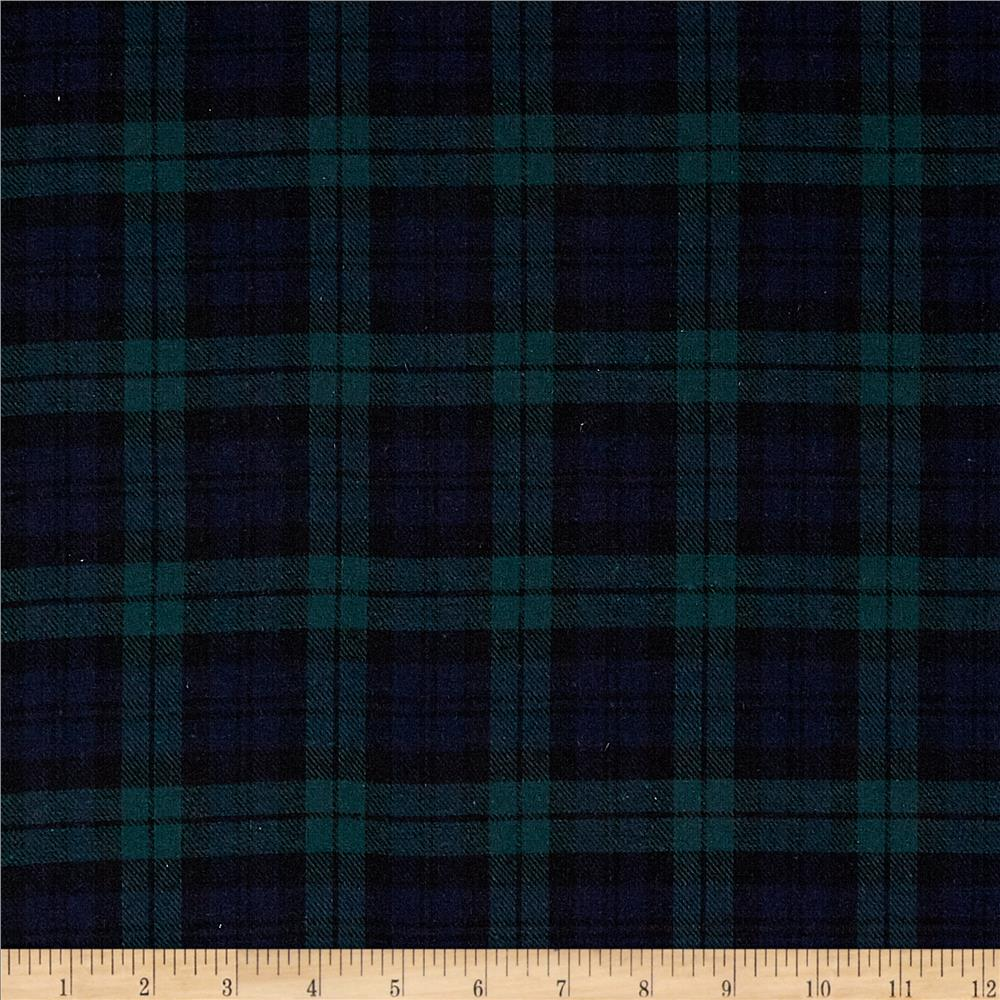 Yarn Dyed Flannel Plaid Black Watch Fabric