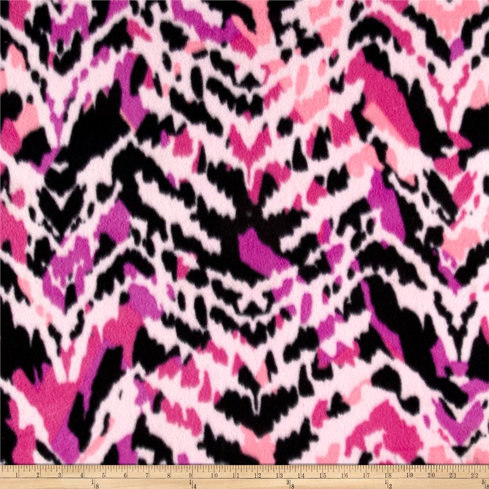 Polar Fleece Print Aberdeen Pink Fabric