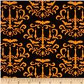 Moda Moonlight Manor Halloween Damask Midnight Black