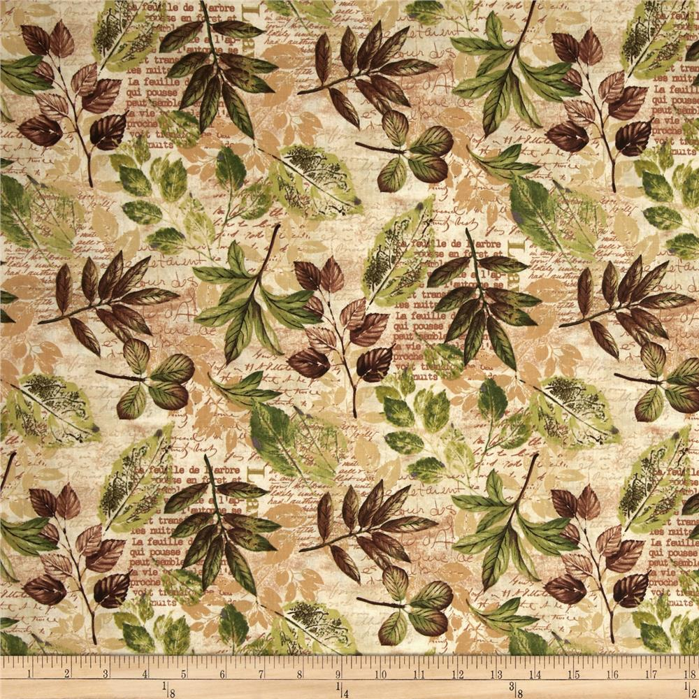 Forest Walk Stenciled Leaves Tan