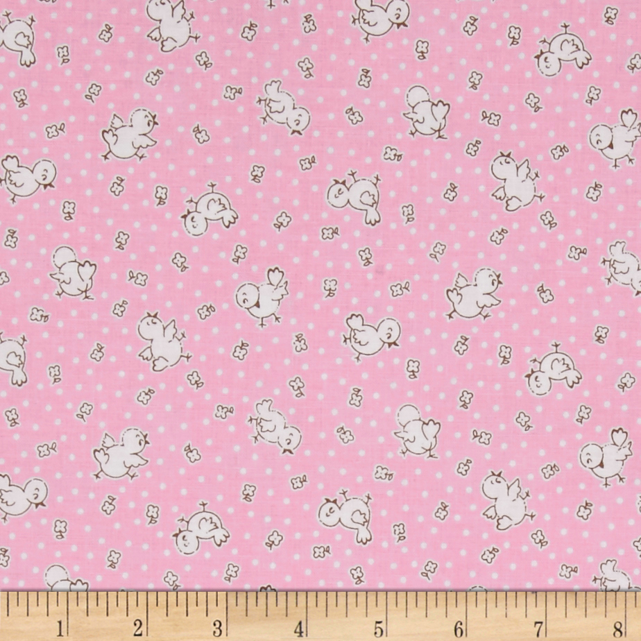 Penny Rose Apple Farm Chickadee Pink Fabric by Christensen in USA