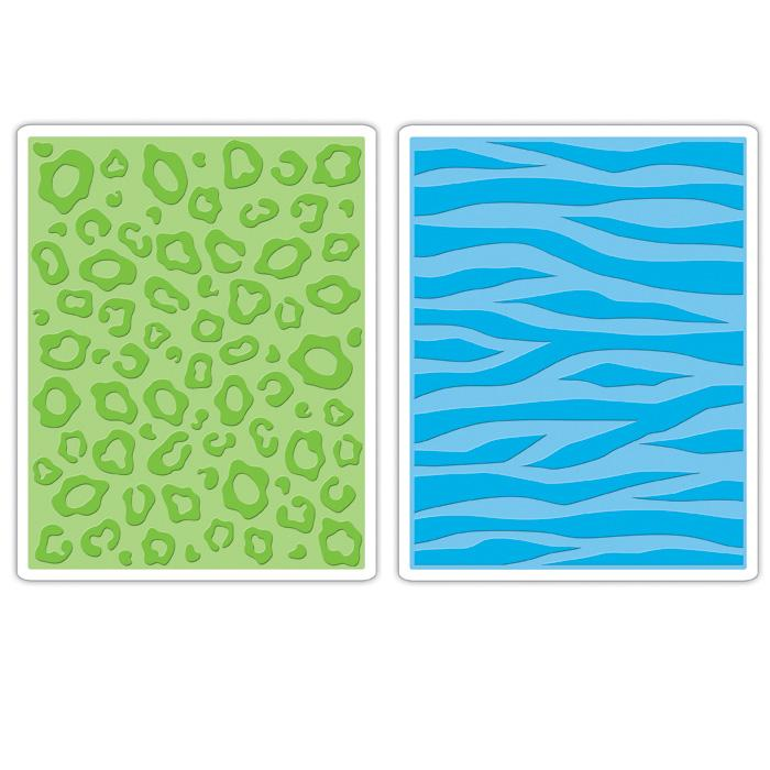 Sizzix Textured Impressions Embossing Folders 2 Pack-Animal Print Set