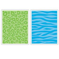 Sizzix Textured Impressions Embossing Folders 2 Pack-Animal Print