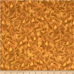 Wintersong Collection Wintersong Bird Dark Gold Fabric