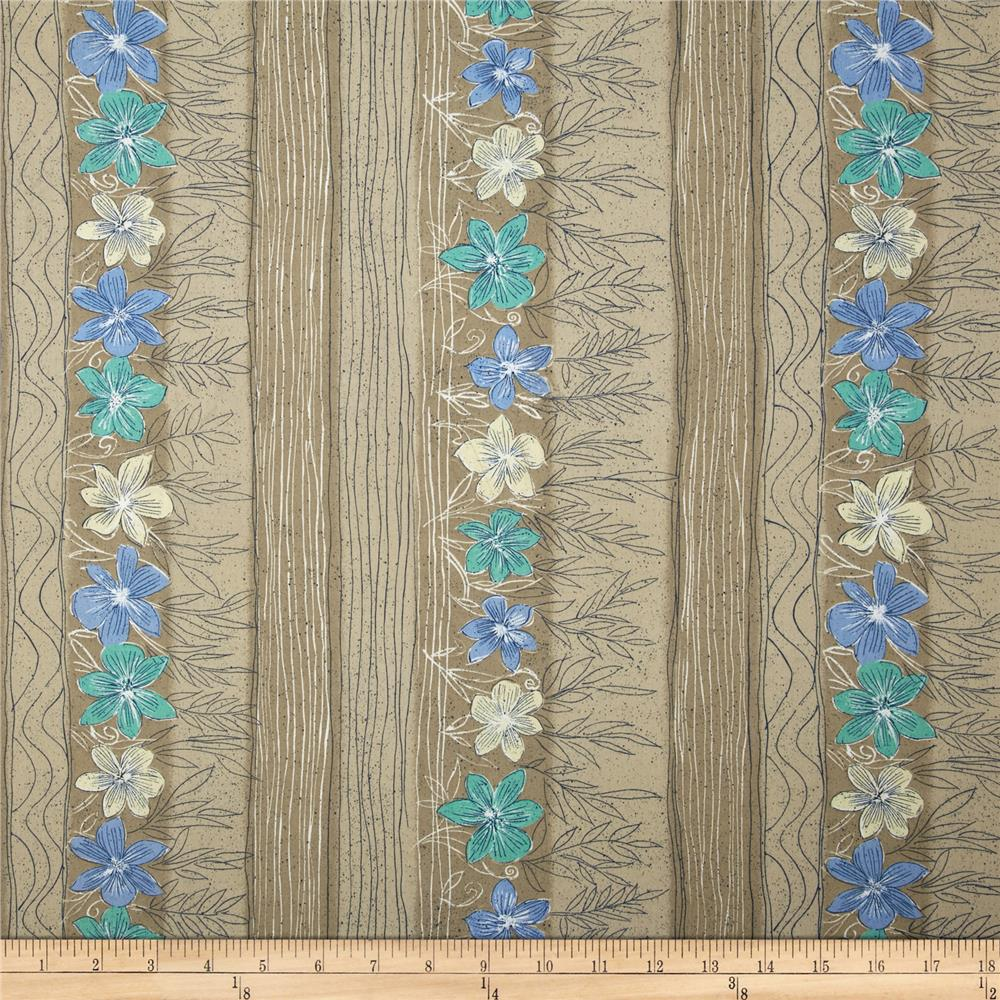 Growing Flowers Stripe Tan/Blue