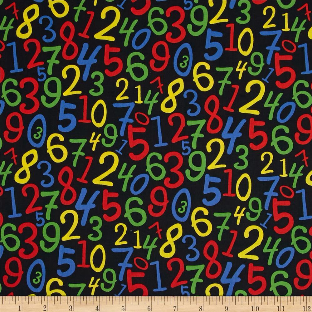Back to School Numbers Black Fabric