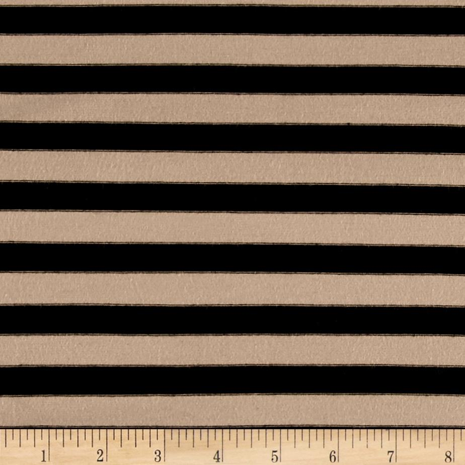 Jersey Knit 1/2'' Stripe Black/Sand Fabric By The Yard