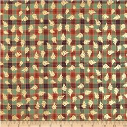 Holiday Blitz Small Plaid Metallic Leaf Green Fabric